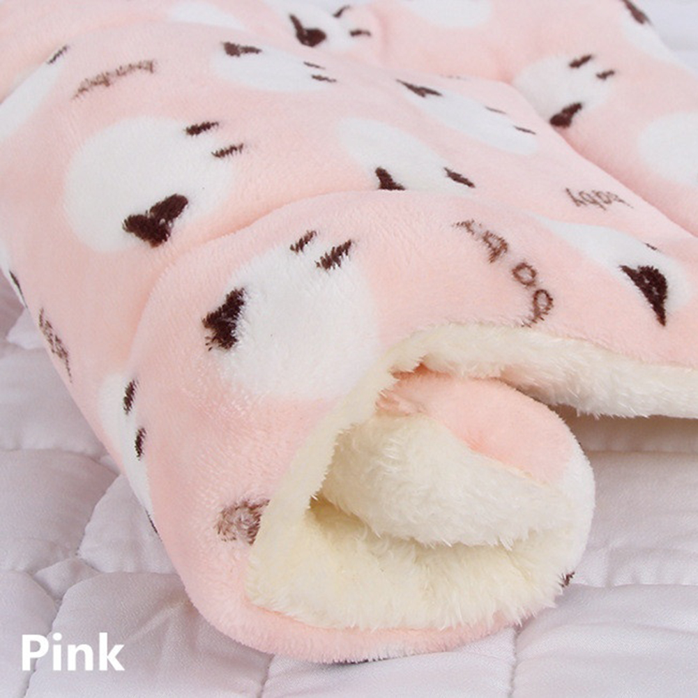 Pet Mat Thickening Warm Autumn Winter Cat Dog Blanket Anti-slip Cushion Pink lamb_1# 32*25cm