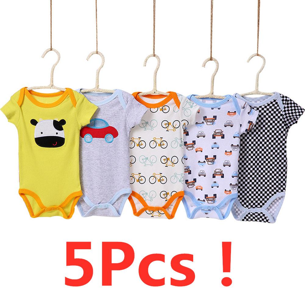 5 Pcs Infant Boys Girls Summer Casual Cute Cartoon Printing Short Sleeve Romper Random Color Male baby color random_6M