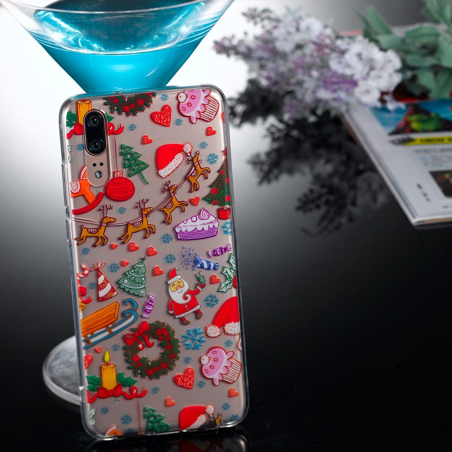 TPU Protective Phone Cover Soft Cute Cartoon Christmas Style Shell for Huawei P20