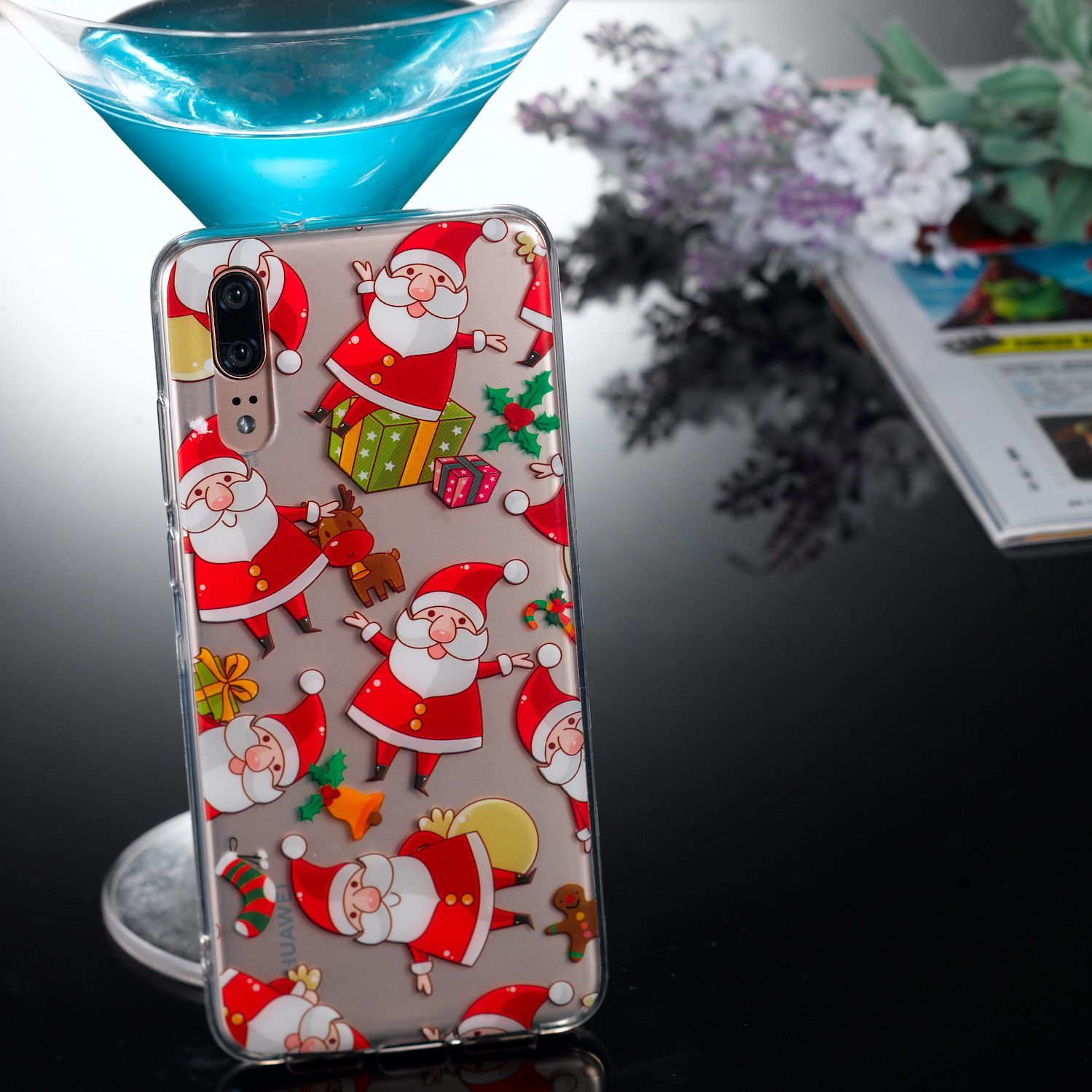 TPU Protective Phone Cover Soft Cute Cartoon Christmas Style Shell for Huawei P20