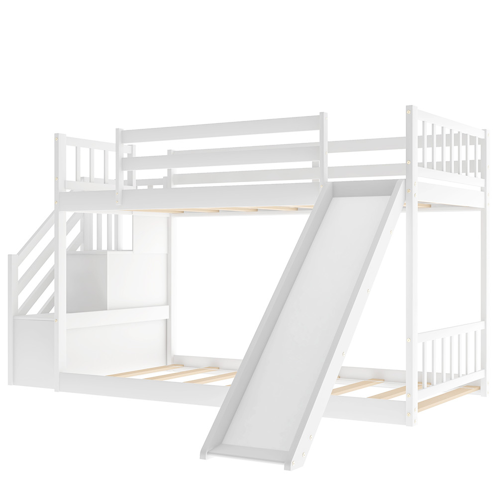 [US Direct] Twin Over Twin Bunk  Bed With Convertible Slide And Stairway Household Furniture White