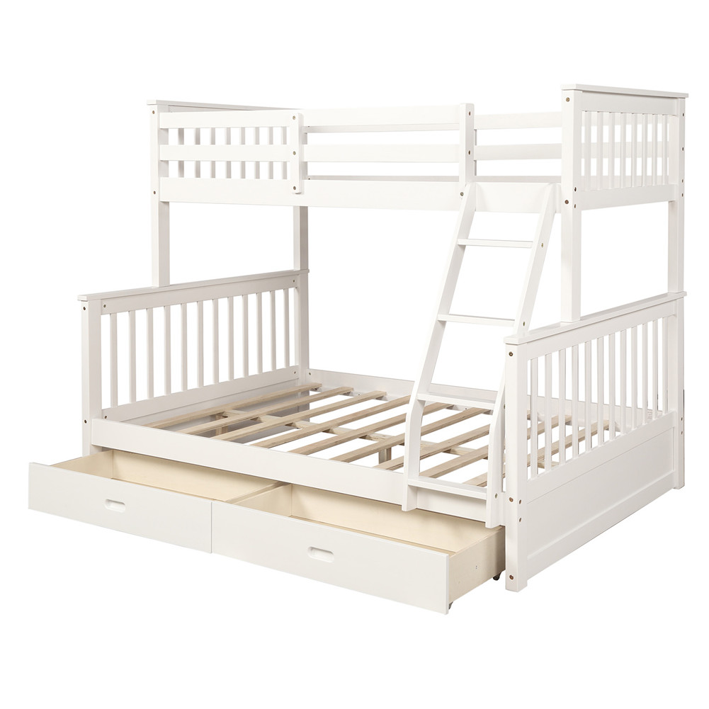[US Direct] Twin-over-full Bunk  Bed With Ladders+two Storage Drawers Household Furniture (white)
