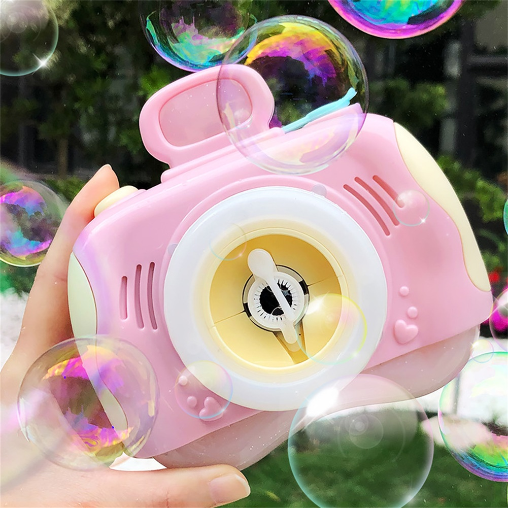 1pc Plastic Bubble Camera Outdoor Toy Bubble Machine Powered by Battery Pink