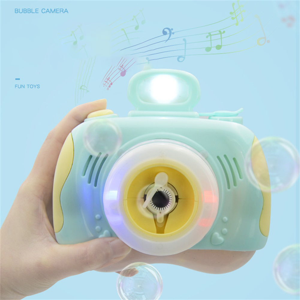 1pc Plastic Bubble Camera Outdoor Toy Bubble Machine Powered by Battery green