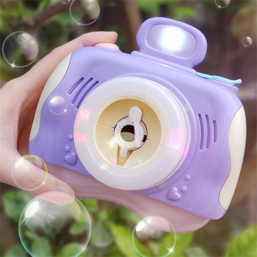 1pc Plastic Bubble Camera Outdoor Toy Bubble Machine Powered by Battery purple