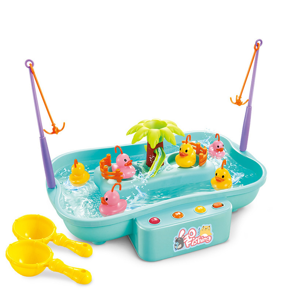 Kids Fishing Toys Electric Water Cycle Music Light Baby Bath Toys Child Game Fish Outdoor Toys Fishing Games For Children 889141 blue 6 ducklings 0.56KG