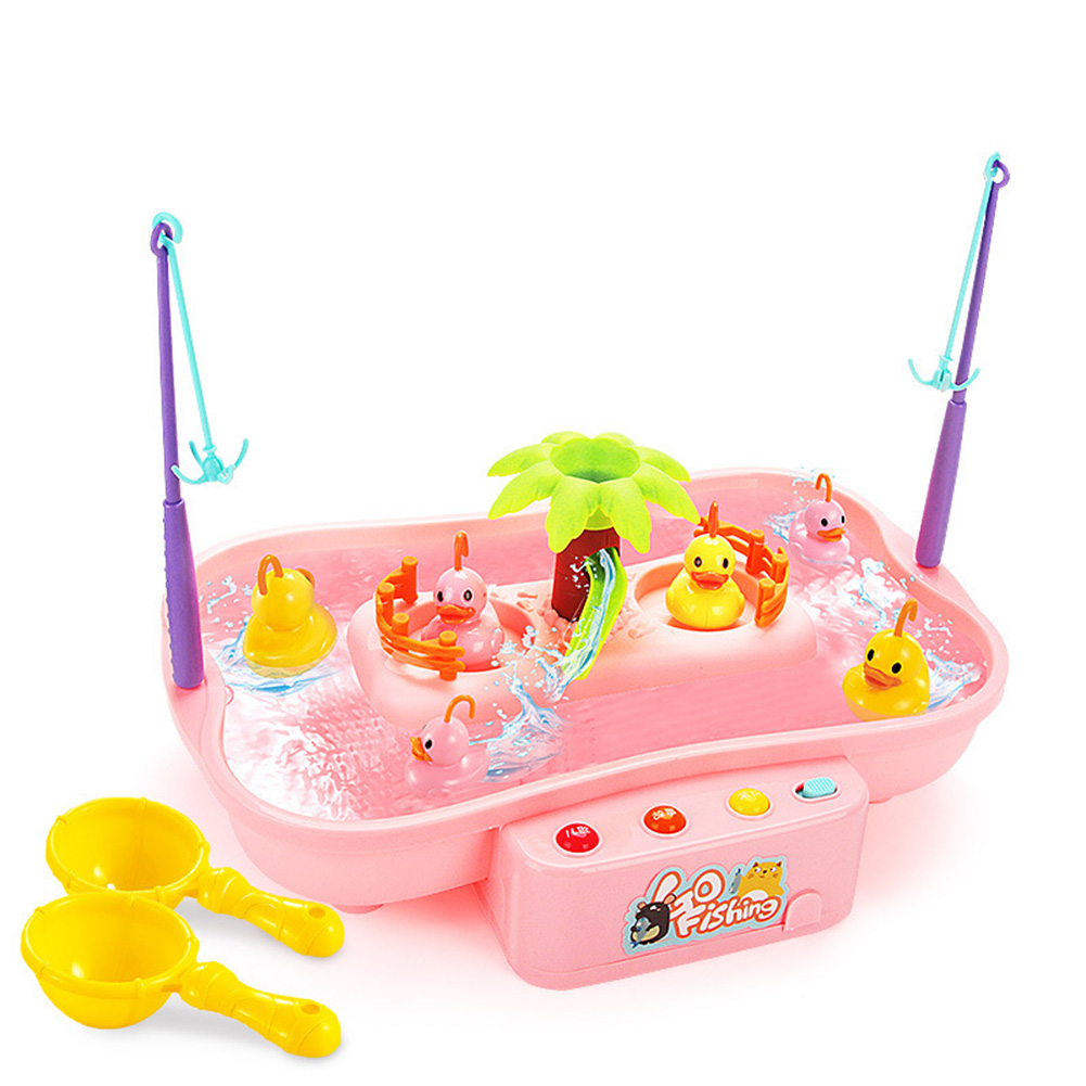 Kids Fishing Toys Electric Water Cycle Music Light Baby Bath Toys Child Game Fish Outdoor Toys Fishing Games For Children 889142 pink 6 ducklings 0.55KG