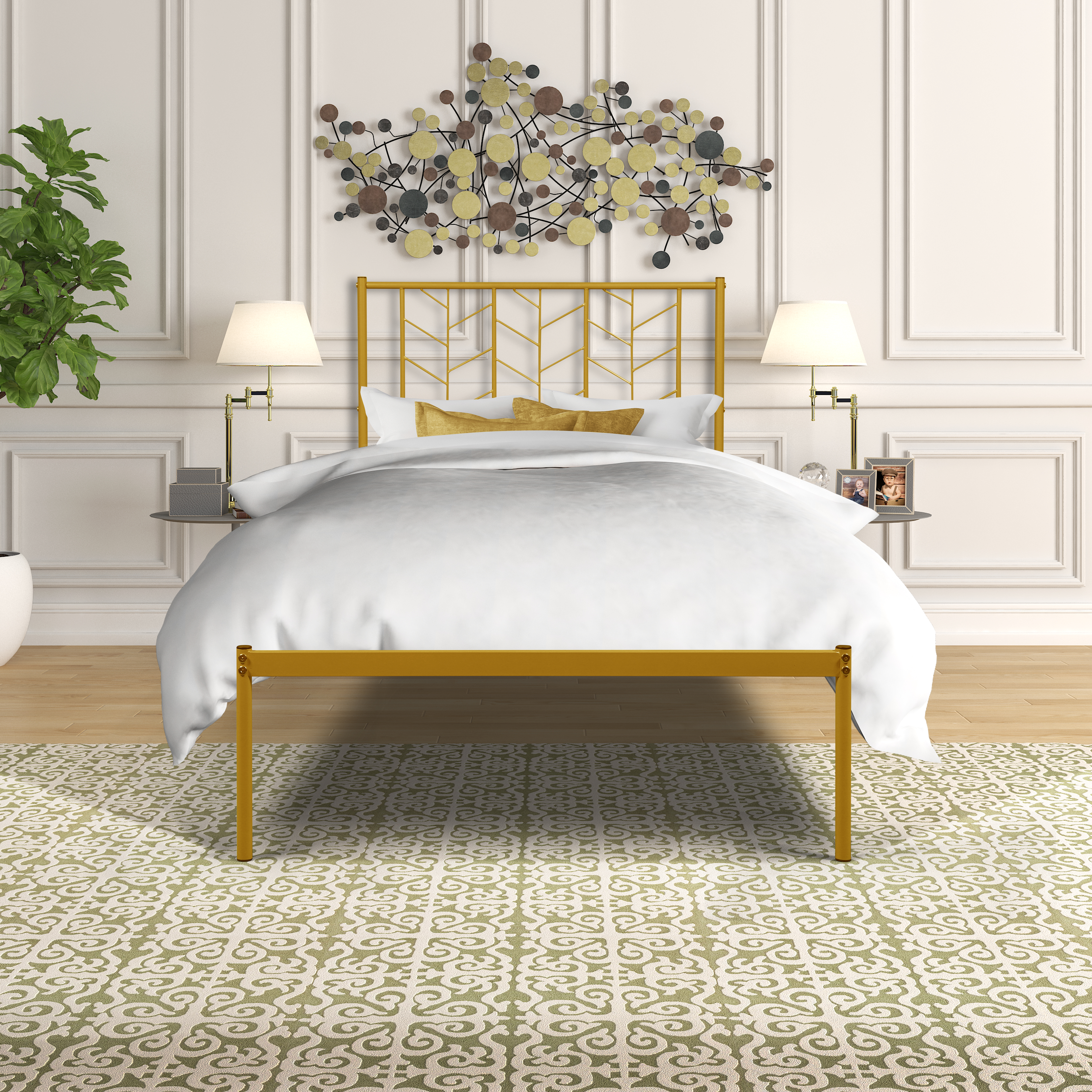 [US Direct] Vintage Look Twin Metal Bed Frame
