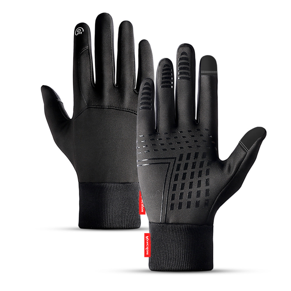 Winter Outdoors Sports Gloves for Women and Men Touch Screen Waterprood Windproof Warm Simier Gloves black_L