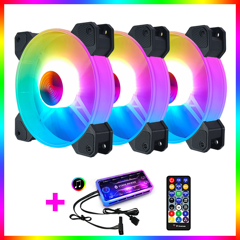 Adjustable Computer Cooling Fan Quiet 120mm RGB Fan PC Case Fan Cooler RGB Cooler Fans for Computer Cooler with Controller 3 fans + 1 standard controller