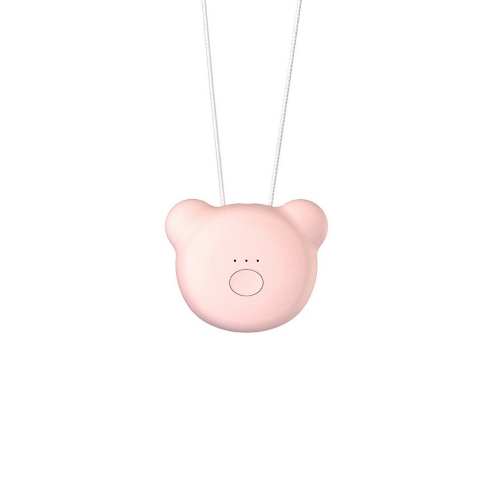 Portable Necklace Air Purifier Remove Formaldehyde PM2.5 Anion Air Freshener Bear [Pink]