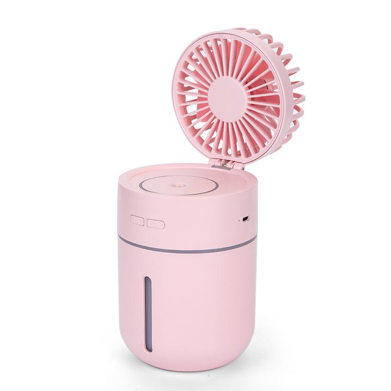 3 in 1 T9 Spray Fan USB Charging Fan Light Car Air Humidifier Small Fan Table Decor Pink_Standard