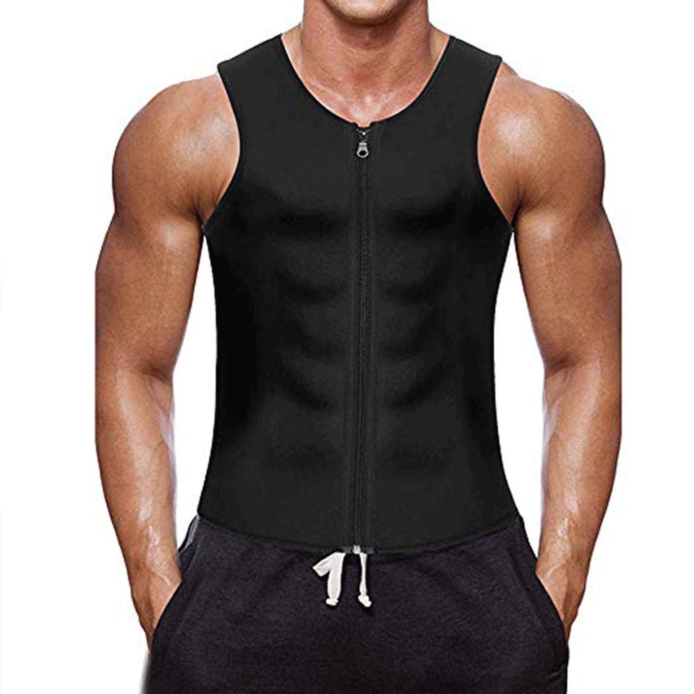 Men's Vest Casual Half-opening Seamless Fitness Zipper Vest Black _M