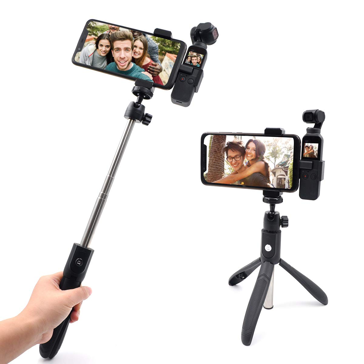 OSMO Pocket Selfie Stick Bluetooth Multifunctional Extendable Tripod with Wireless Remote Selfie Stick for DJI OSMO Pocket as shown