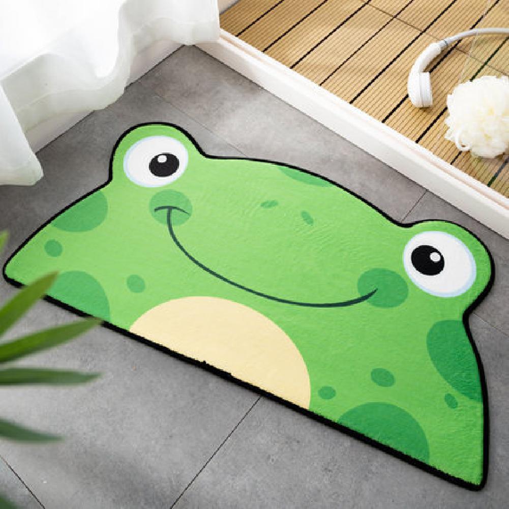 Cartoon Shaped Floor  Mat Bedroom Door Carpet Non-slip Absorbent Semicircular Floor  Mat Green frog_60*120cm