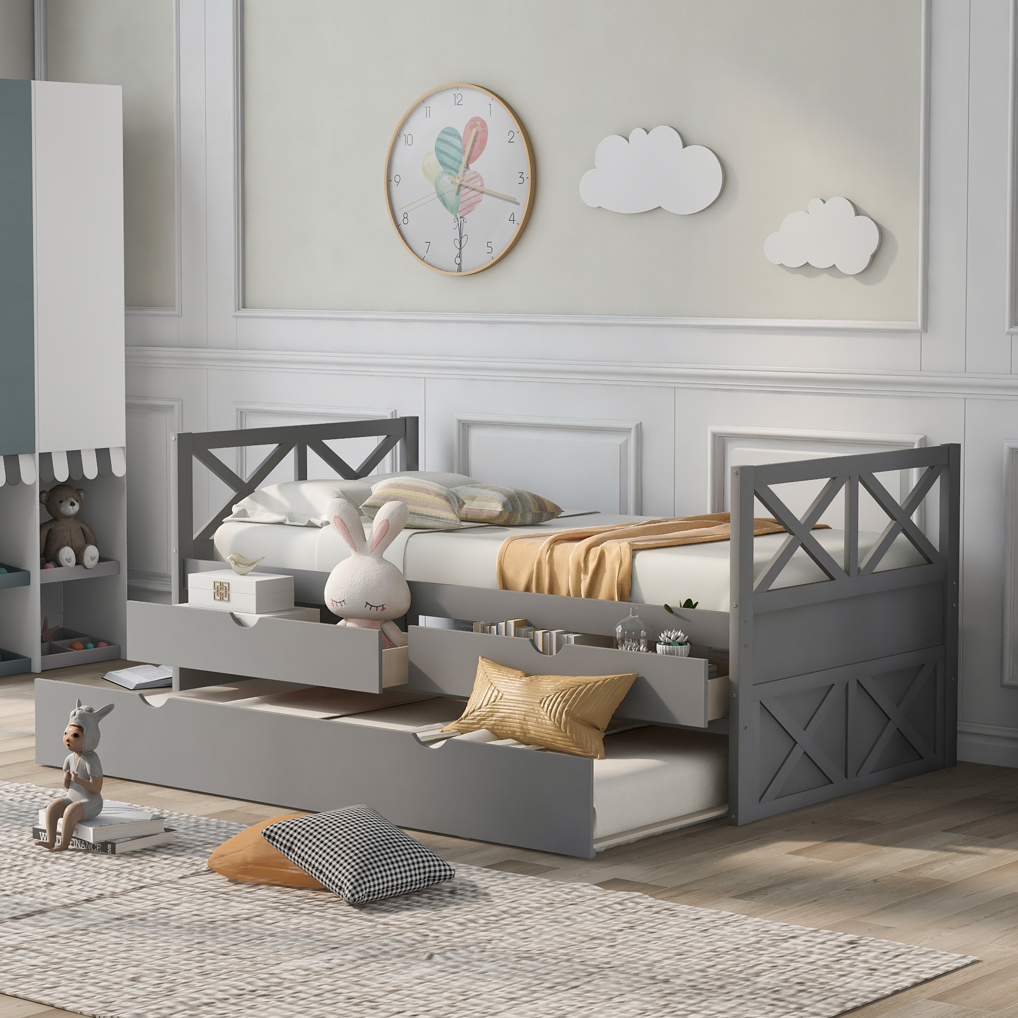 [US Direct] Multi-Functional Daybed with Drawers and Trundle, Espresso