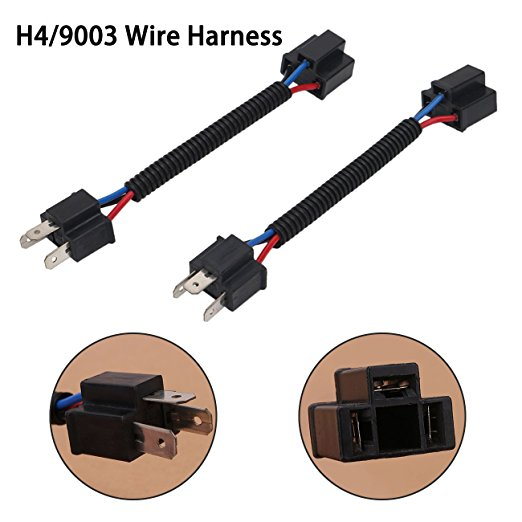 2Pcs H4 Double-headed Wire Harness Extension Socket Adapter Great for Headlights Fog Lights
