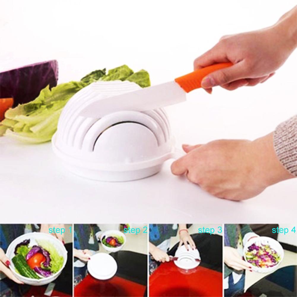 [US Direct] 60 Seconds Salad Cutter Bowl for Fruit Vegetable Quick Easy Salad Maker Fruit Plate