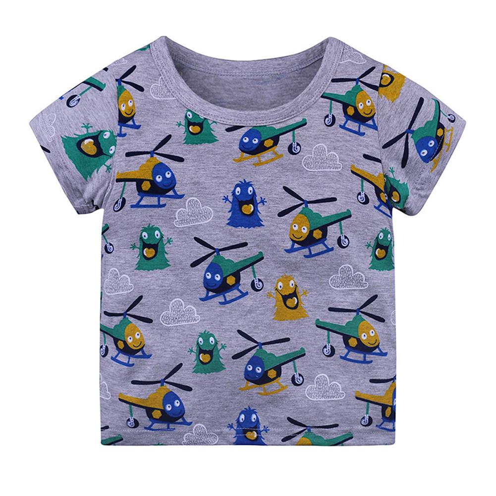 Children Boys Girls Round Neck Short-sleeve T-Shirt Fashion Cartoon Printing Tops