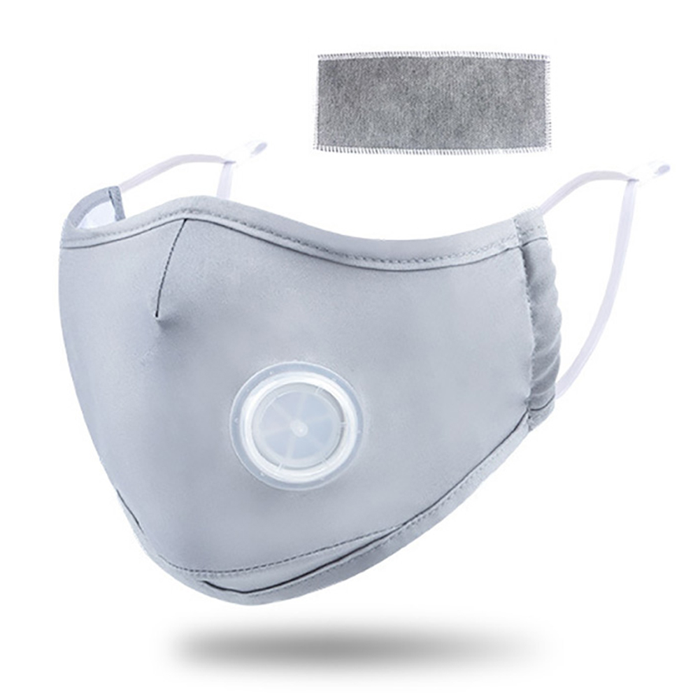Anti PM2.5 Mask Breathing Haze Valve Dust Proof Mouth Face Mask Activated Carbon Filter Respirator Mouth-muffle light gray_Free size