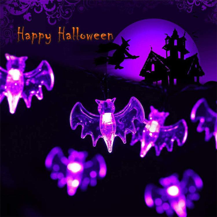 2M 20LEDs String Light Purple Bat Shape Light for Halloween Outdoor Garden Party Decor  Purple light_2 meters 20LED