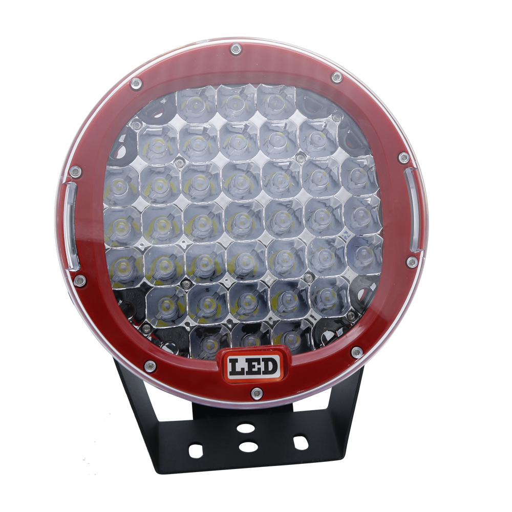 9inch 185w  LED  Driving  Light  Round  Spotlight  Bar  Offroad  4WD  Auto  Lamp Red cover/white light