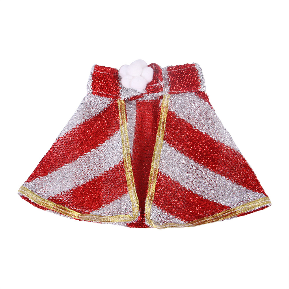 Halloween Christmas Pet Cape Cloak Puppy Cat Outfit Dress Up Coat Costume Red and white strips_S