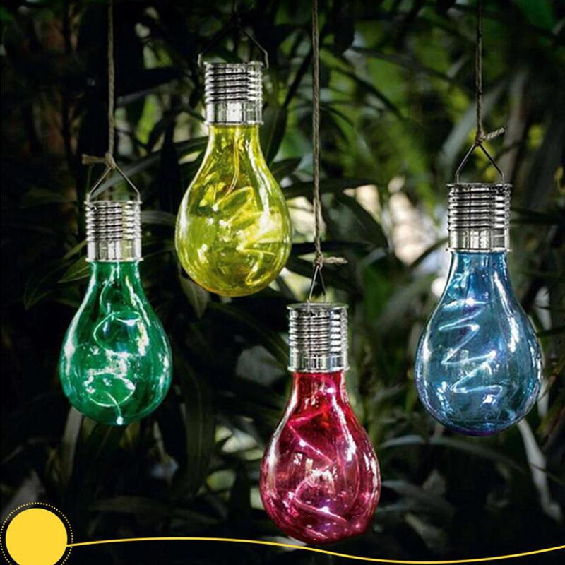 Solar Powered LED Hanging Lamp with Light Sensor Decorative Bulb Lawn Lamp for Outdoor Garden Camping (Warm White Light) Warm light red shell