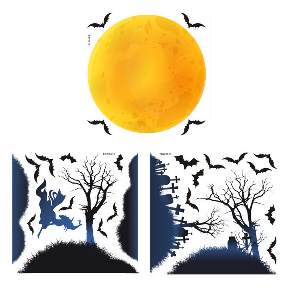 Moon Witch Wall Stickers Halloween Wall Stickers A Set of Stickers/6pcs 31cm x 32cm X3 sheets