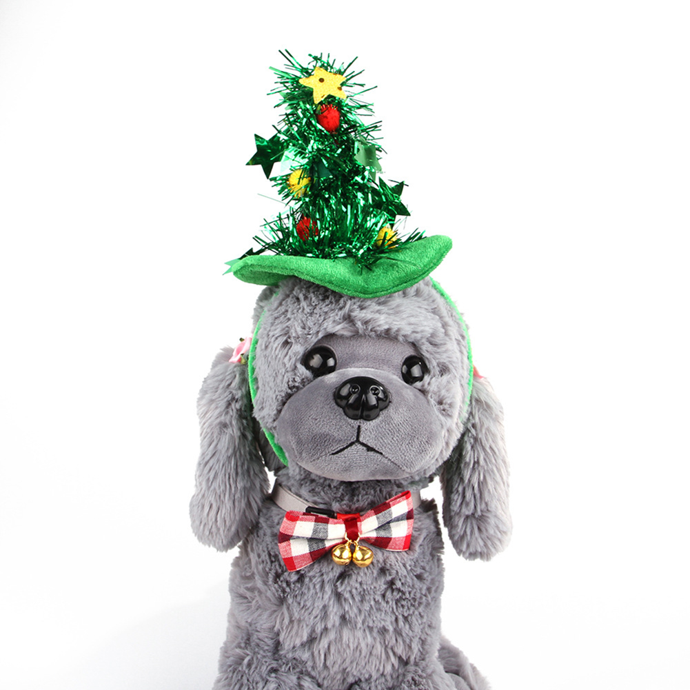 Funny Headgear Hat Cosplay Prop for Halloween Cats Dogs Wear Christmas tree_One size
