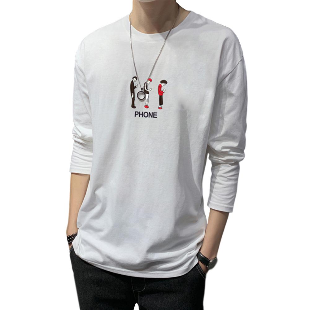 Men's T-shirt Autumn Long-sleeve Thin Loose Cartoon Printing Bottoming Shirt white_L