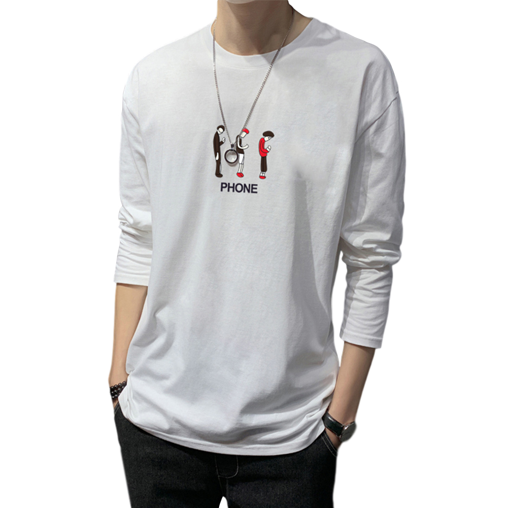 Men's T-shirt Autumn Long-sleeve Thin Loose Cartoon Printing Bottoming Shirt white_M