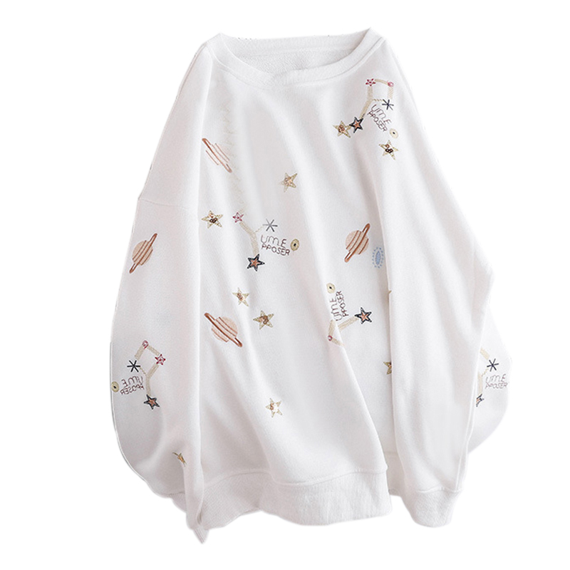 Women Autumn Sweatshirts Embroidered Hooded Blouse Loose Long Sleeves Tops White_M