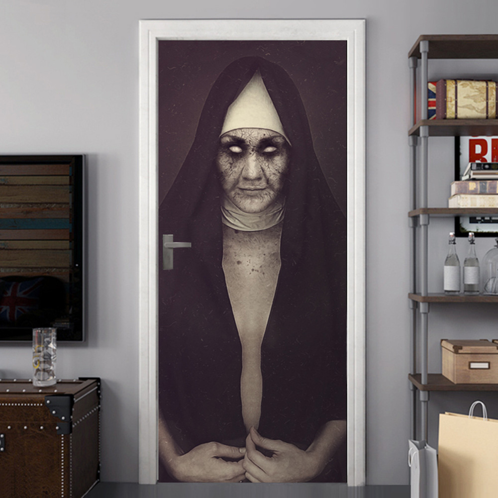 3D Halloween Horror Sister Pattern Door Stickers Decorations Wall Stickers Party Props