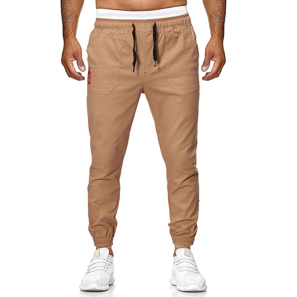 Men's Casual Pants Spring and Autumn Overalls Cotton Fine Canvas Slim Business Pants Khaki_M