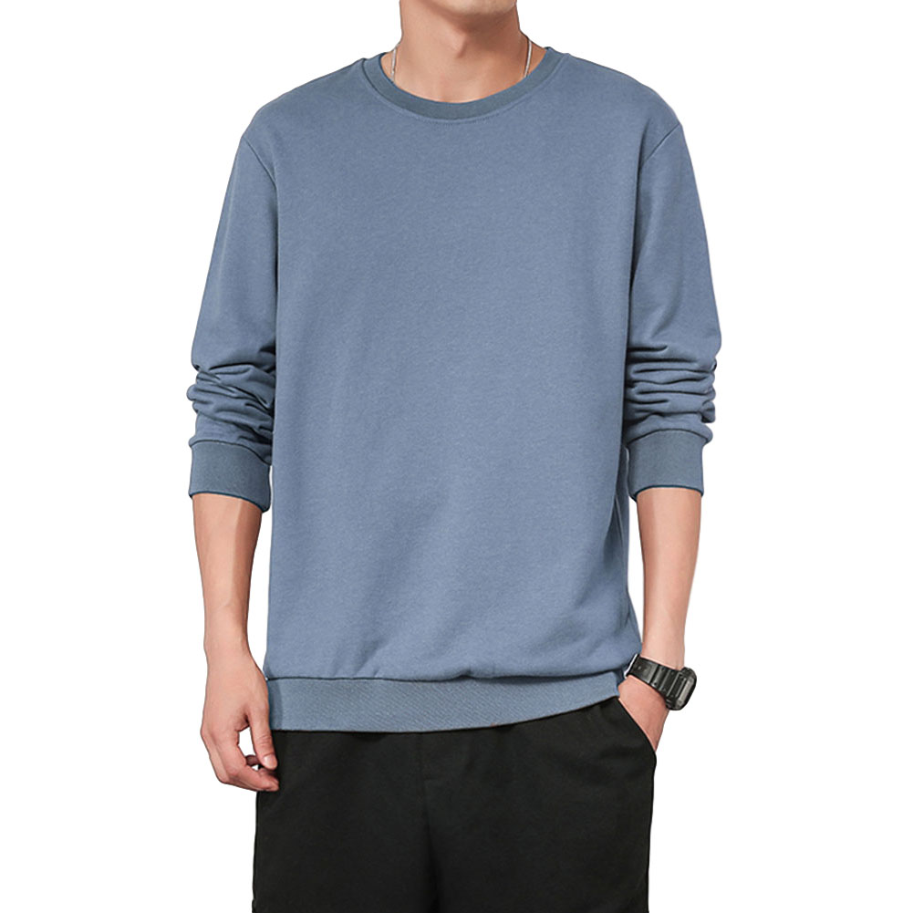 Men Spring Autumn Sweatshirts Casual Fashion Round Collar Coat Gray blue_L