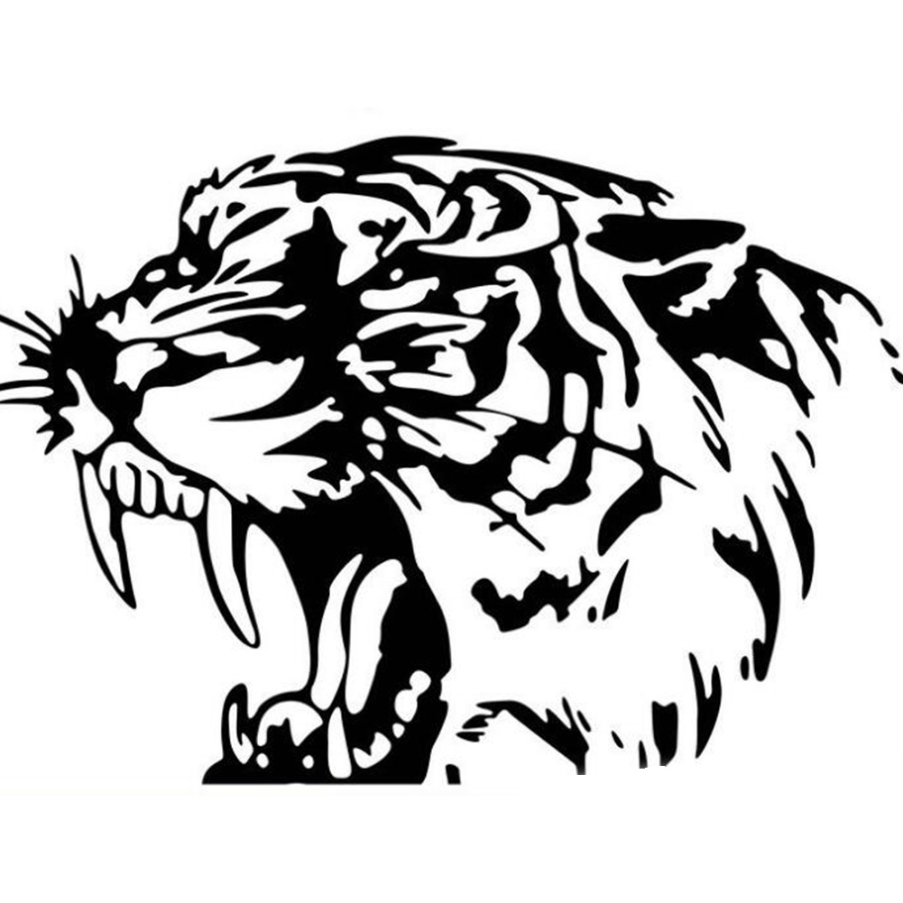 Cool Tiger Head Car Sticker Styling Decoration Car Decals black