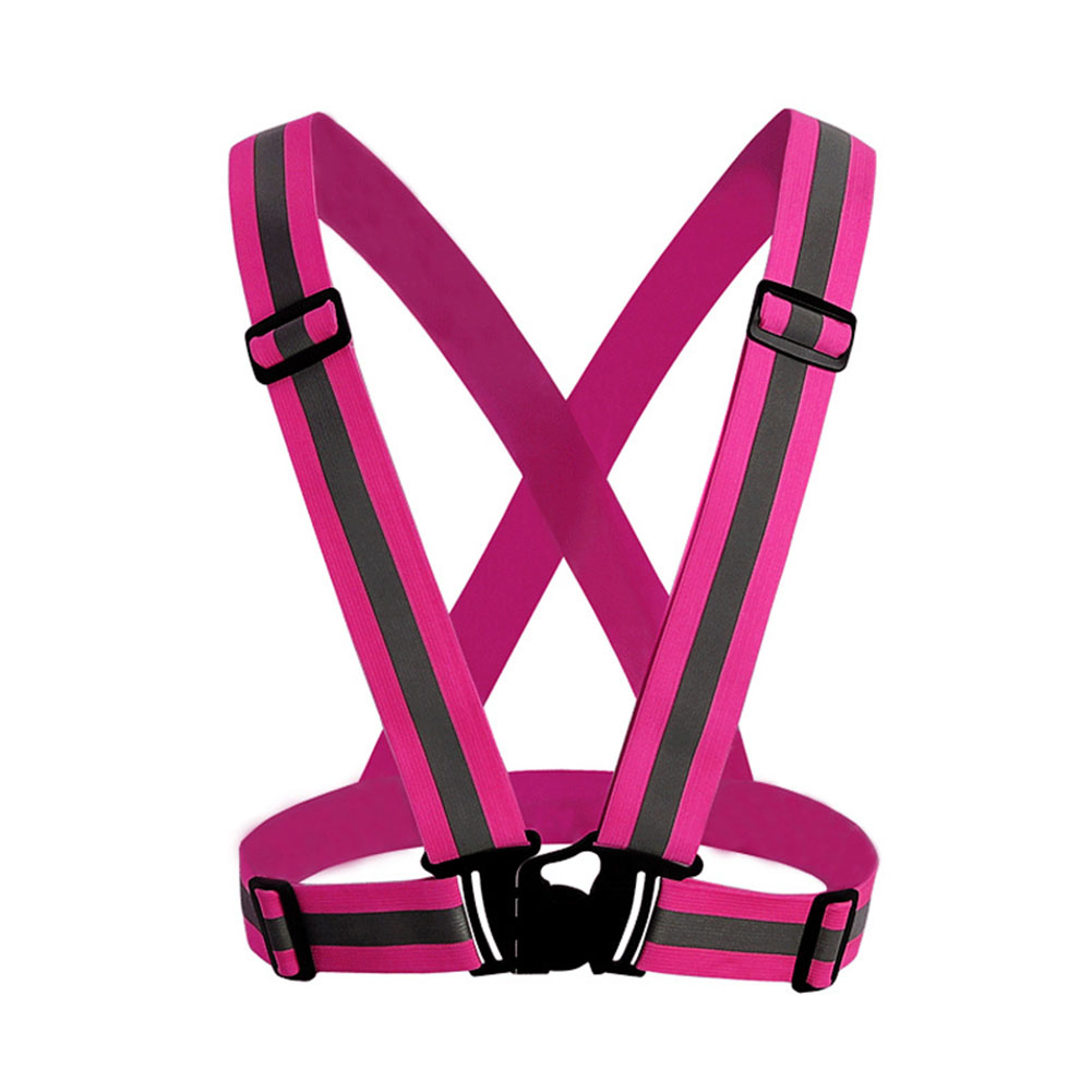 Adjustable V-shape Reflective Safety Vest Luminous Elastic Belt for Night Running Cycling Sports Outdoor Clothes Pink