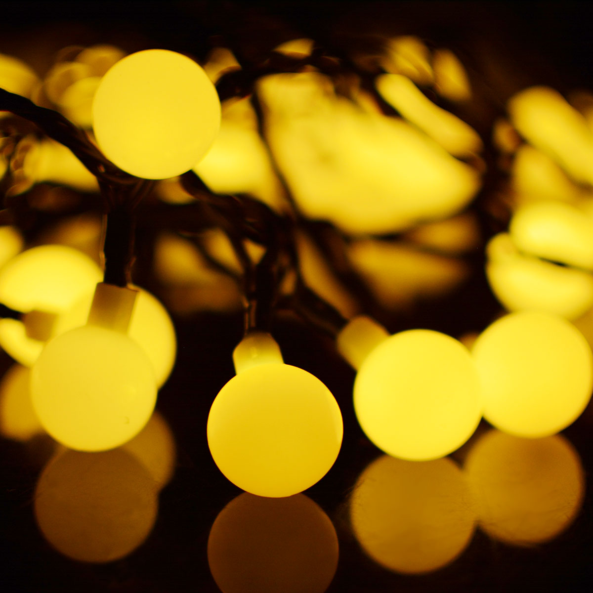 7M 50LEDs Simple Round Ball Shape Waterproof Solar String Light Lawn Lamp warm light_(ME0004002)