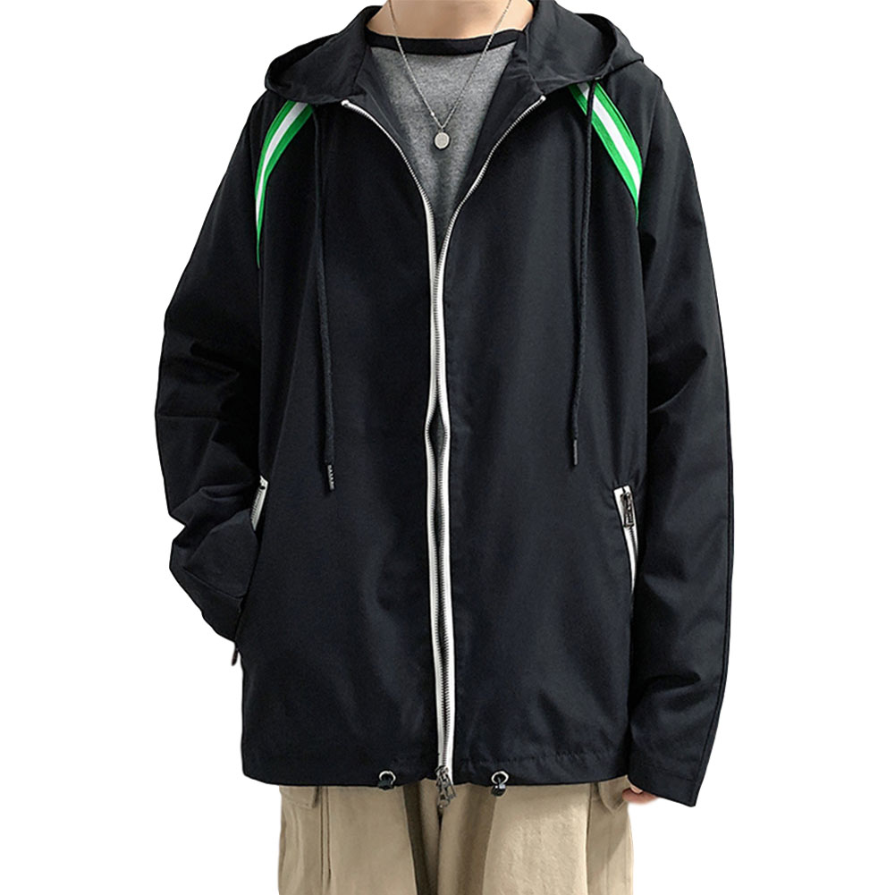 Men's Jacket Autumn Loose Solid Color Large Size Hooded Cardigan black_L