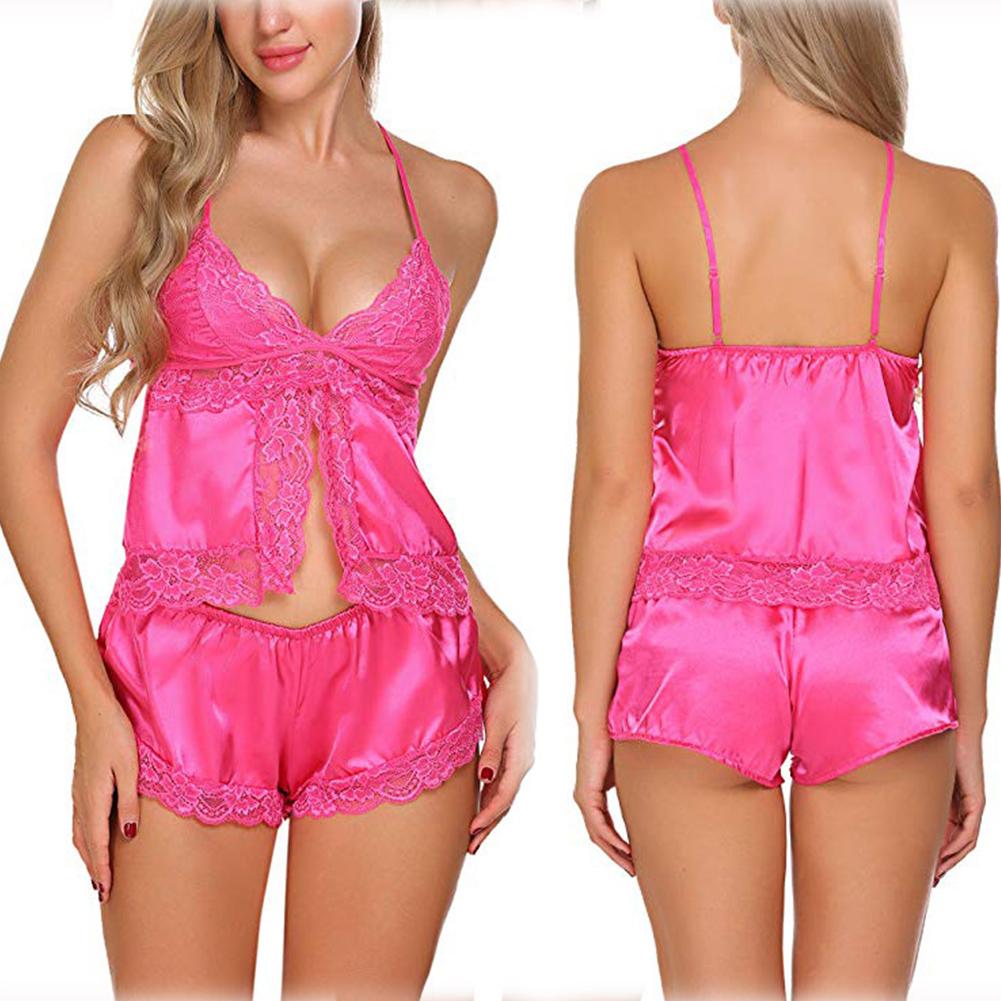 2 Pcs/set Women Pajamas Set Lace Satin Sleepwear Summer Nightwear Sexy Lingerie Pyjamas Tops+Shorts  rose Red_XL