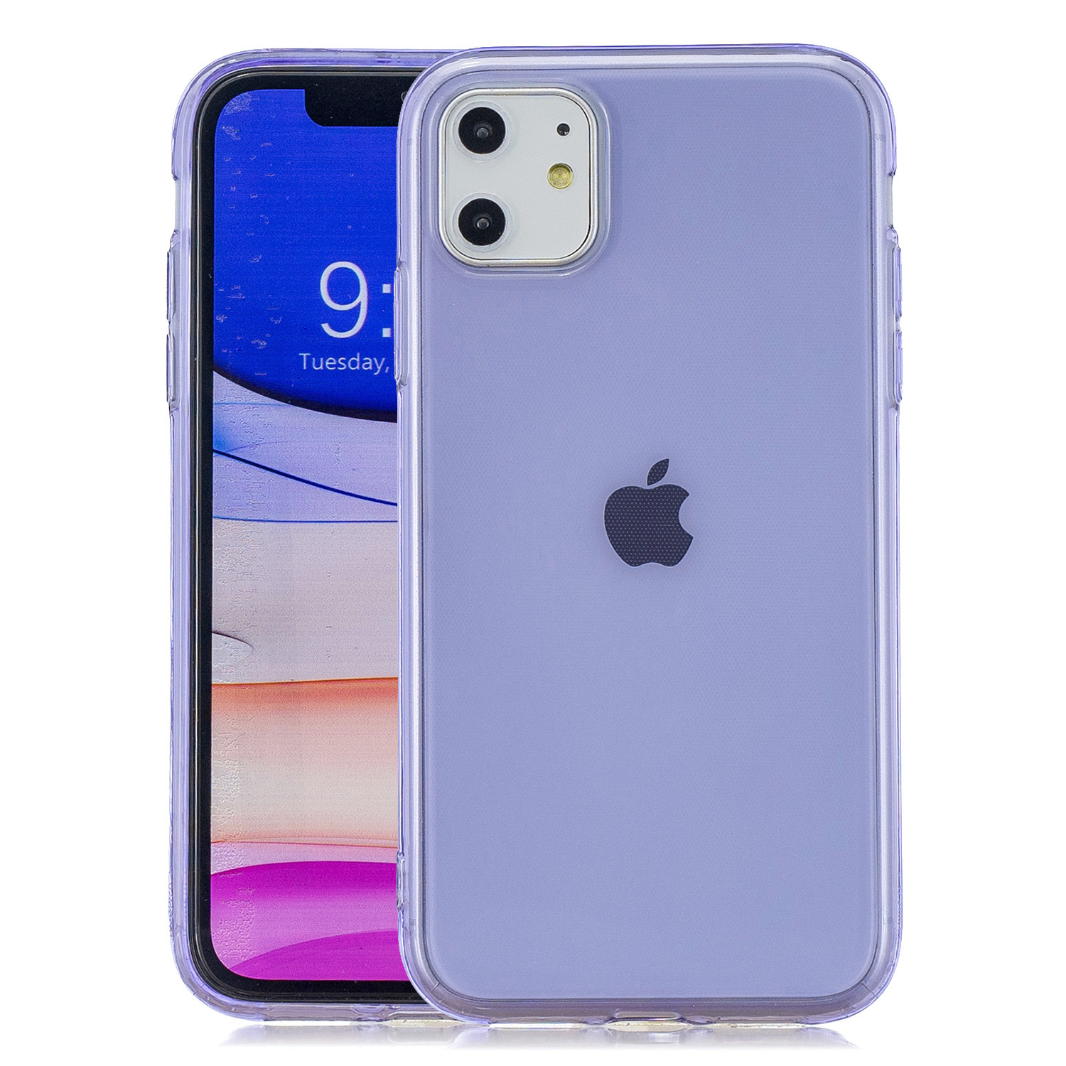 for iPhone 11 / 11 Pro / 11 Pro Max Clear Colorful TPU Back Cover Cellphone Case Shell Purple