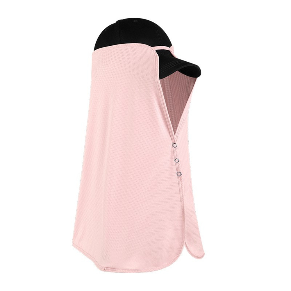 Ice Silk Sun Visor Face  Cover Sunscreen Shawl Face For Outdoor Activities Cherry blossom Pink
