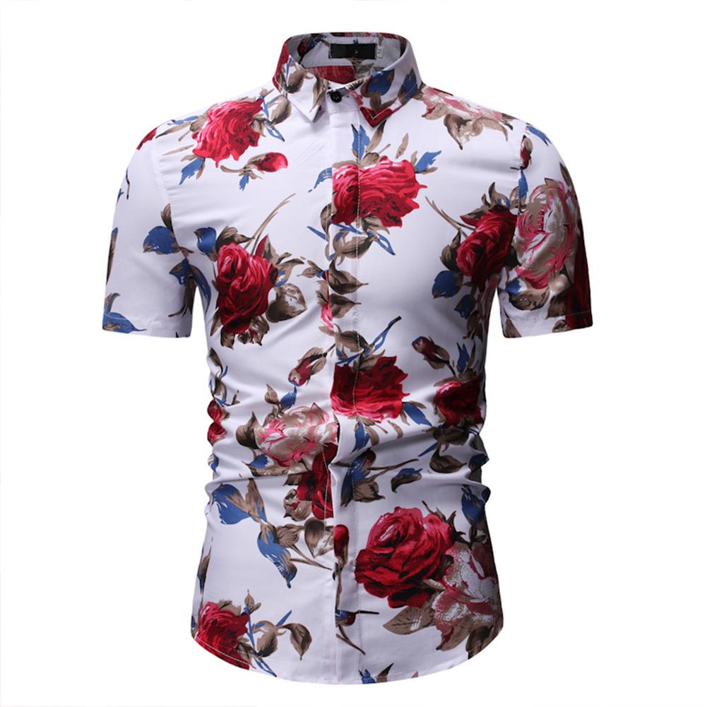 Men Summer Casual Flower Printed Shirt