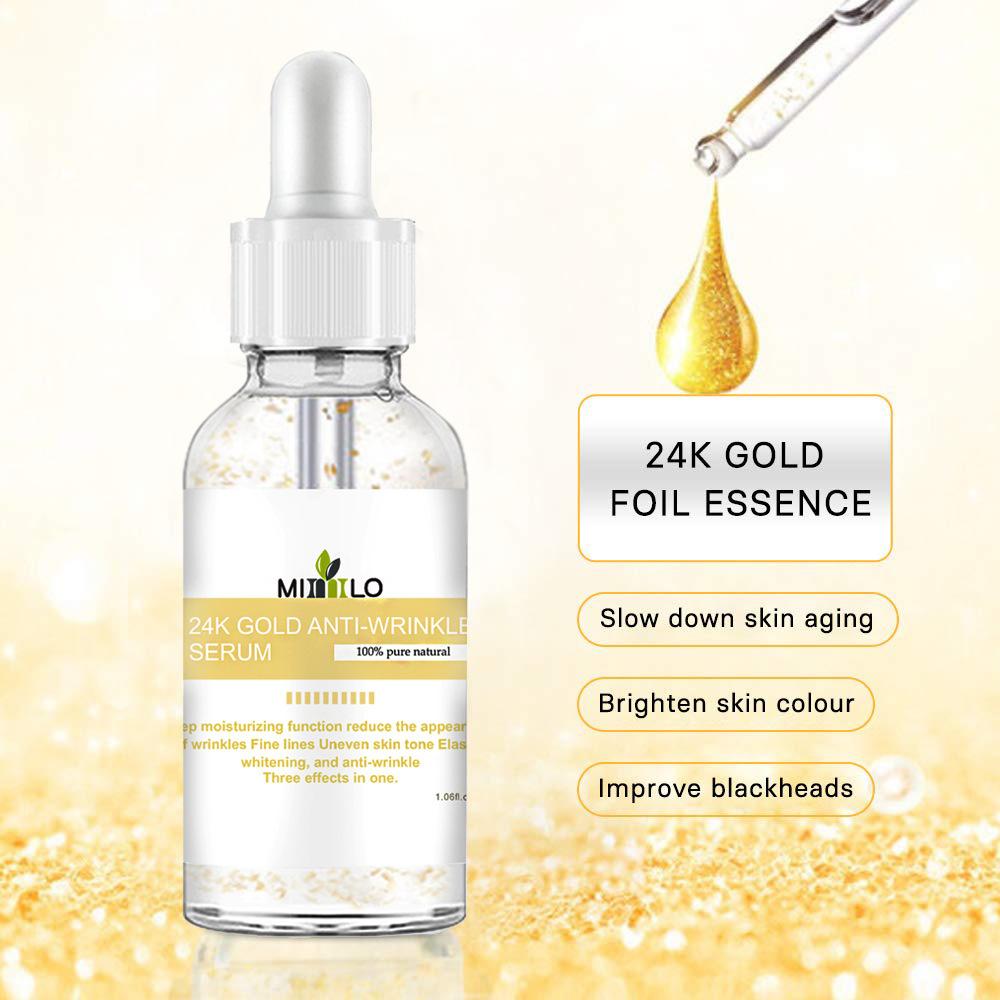 24k  Gold  Leaf  Essence Whitening Moisturizing Gold Pre-makeup Face Lip Skin Care Essence 30