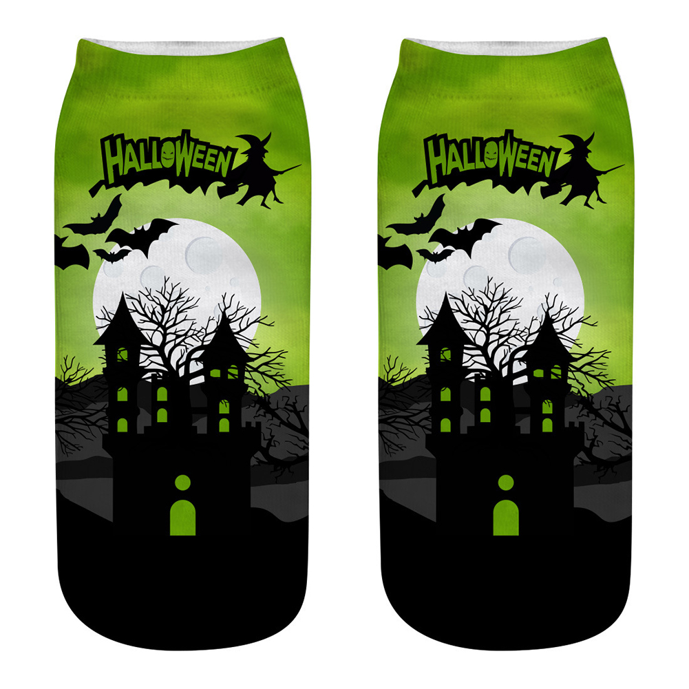 Unisex Cartoon 3D Halloween Element Printing Socks Breathable Sweat-Absorbent Socks   WSJ04_one size