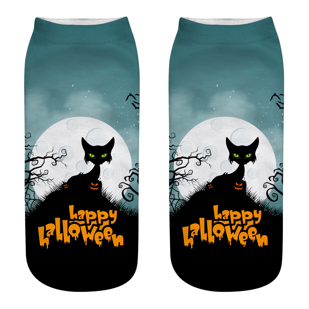 Unisex Cartoon 3D Halloween Element Printing Socks Breathable Sweat-Absorbent Socks   WSJ05_one size