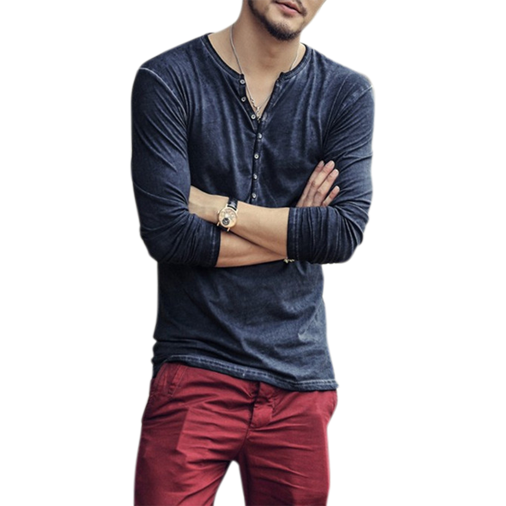 Men Simple Casual Long-Sleeve Slim Henley Shirt Simple Solid Color Button Tops Blue_L