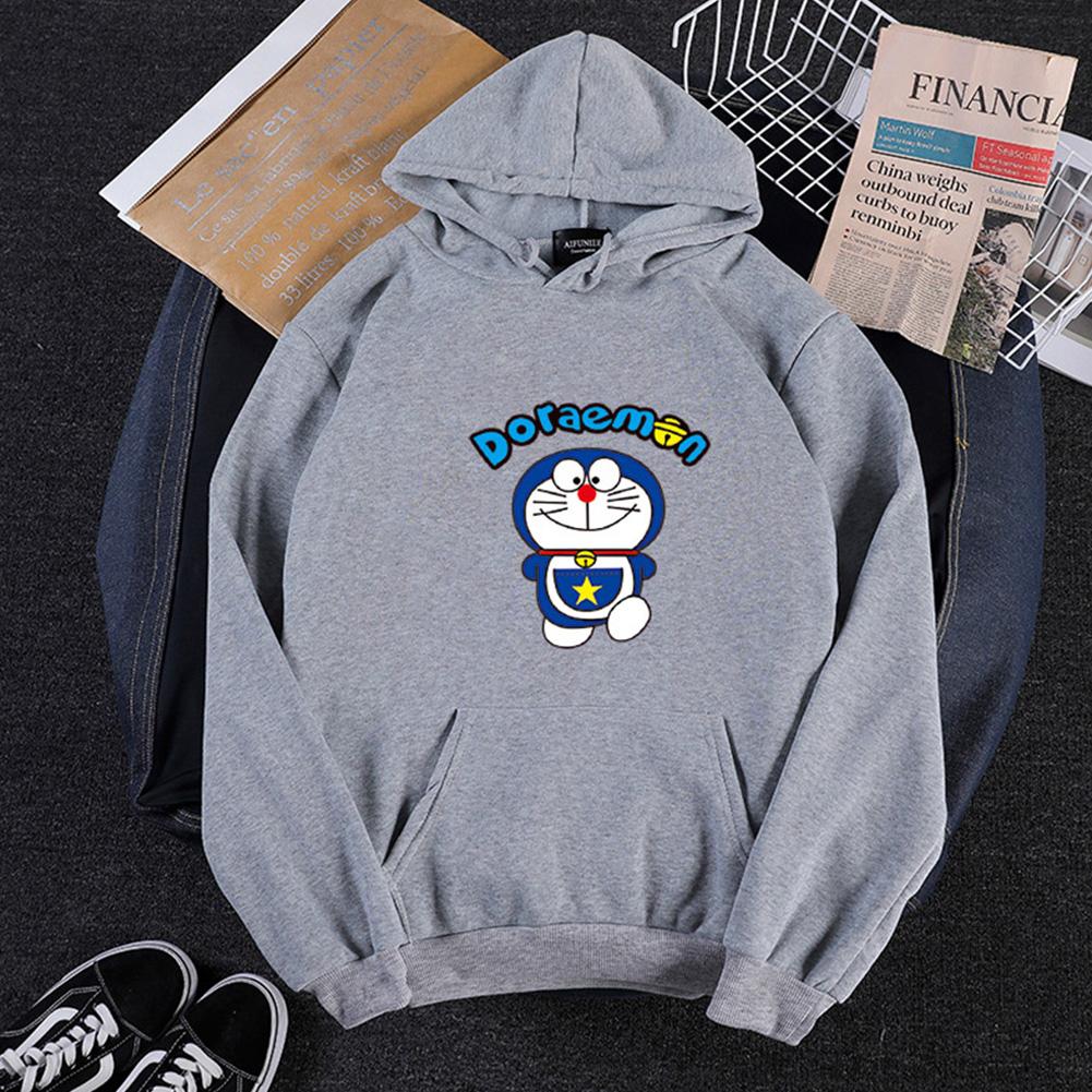 Men Women Hoodie Sweatshirt Doraemon Cartoon Thicken Loose Autumn Winter Pullover Tops Gray_S