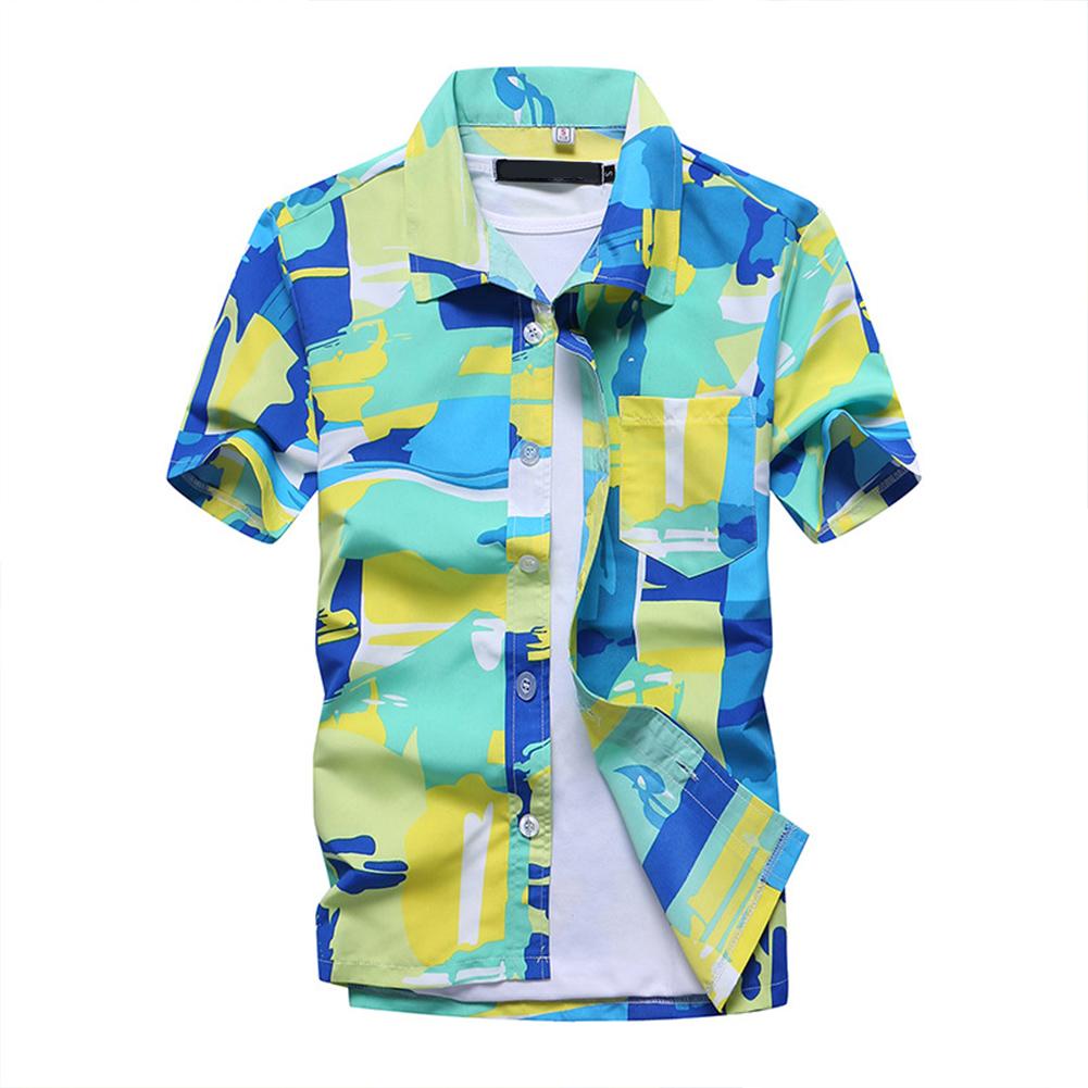 Men Short Sleeve Printing Quick Dry Loose Beach Shirt green_L
